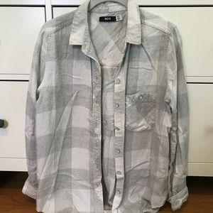BDG white/light grey plaid flannel